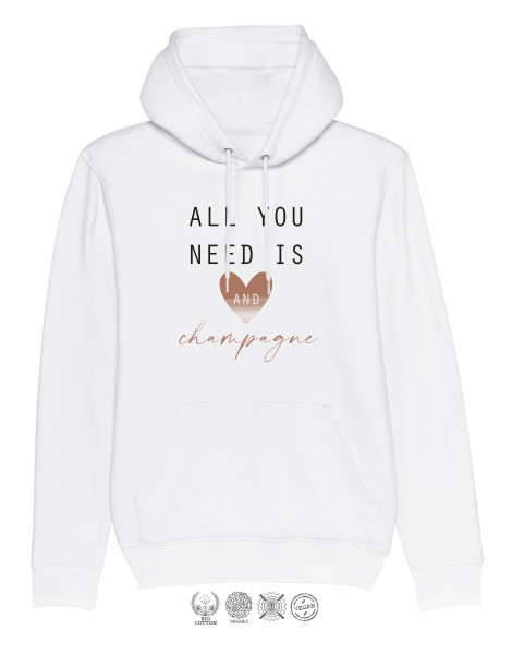Unisex Hoodie All you need is Herz and champagne